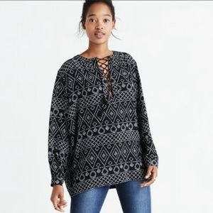 Madewell Caravan Peasant Lace Up Front Blouse